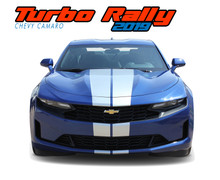 TURBO RALLY 19 : 2019 2020 Chevy Camaro Racing Stripes Hood Rally Vinyl Graphics and Decals Kit fits SS RS V6 Models