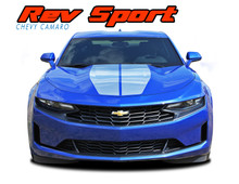 REV SPORT : 2019 2020 2021 Chevy Camaro Hood Racing Stripes and Hood Trunk Spoiler Vinyl Graphics and Decals Kit fits SS RS V6 Models