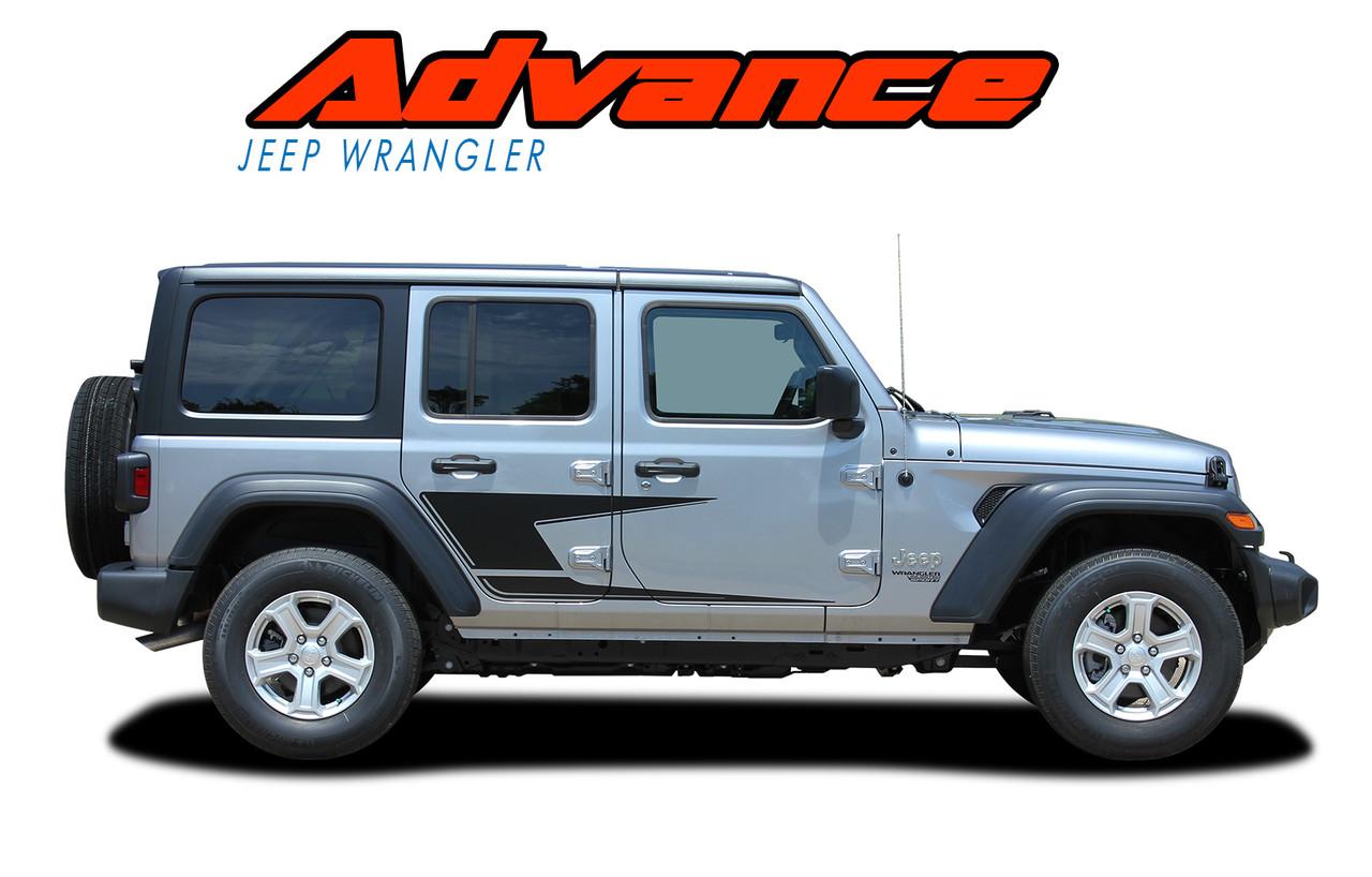Advance 2018 2020 jeep wrangler side door vinyl graphics decals stripes kit