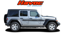 HAVOC : 2018-2020 2021 Jeep Wrangler Side Door Vinyl Graphics Decals Stripes Kit (VGP-6428)