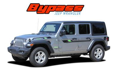 BYPASS : 2018-2020 2021 Jeep Wrangler Side Door and Hood Vinyl Graphics Decals Stripes Kit (VGP-6429)
