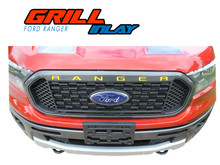 GRILL TEXT : 2019 2020 2021 Ford Ranger Grill Letters Inlay Decals Stripes Vinyl Graphics Kit