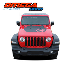 OMEGA HOOD : 2020 2021 Jeep Gladiator Hood Blackout Vinyl Graphics Decal Stripe Kit
