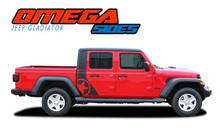 OMEGA SIDES : 2020 2021 Jeep Gladiator Side Body Star Vinyl Graphics Decal Stripe Kit
