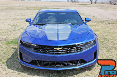 Front of blue 2019 Chevy Camaro Duel Racing Stripes REV SPORT PIN 2019