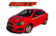 SWEEP : 2012 2013 2014 2015 2016 Chevy Sonic Hood Graphic and Lower Rocker Panel Vinyl Graphic Stripe Decals (VGP-1730)