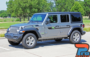 Front angle of 2019 Jeep Wrangler Decals BYPASS and ACCENTS 2018-2020