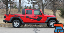 Side of red PARAMOUNT SOLID Jeep Gladiator Side Body Graphics Decal Stripe Kit for 2020-2021