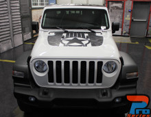 Front of white JOURNEY HOOD : 2020 2021-2021 Jeep Gladiator Hood Star Digital and Decals Vinyl Graphics Stripe Kit