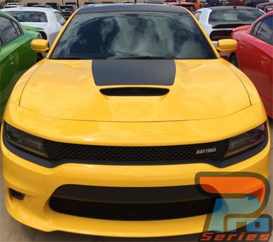 Front of yellow 15 CHARGER HOOD   Dodge Charger Hood Decal Daytona Hemi SRT 392 Center Hood Stripe Vinyl Graphics 2015-2020