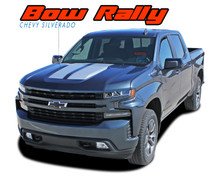 BOW RALLY : 2019 2020 Chevy Silverado Hood Decals Racing Stripes Vinyl Graphic Kit (VGP-6881)