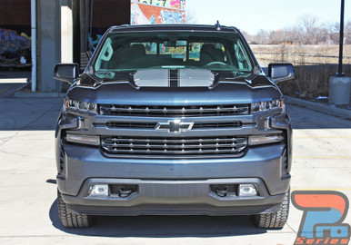 Front of 2019 2020 2021 Chevy Silverado Racing Stripes BOW RALLY