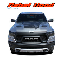 REB HOOD : 2019, 2020, 2021 Dodge Ram Rebel Hood Decals 1500 Hood Vinyl Graphics Stripes Kit (VGP-6943)