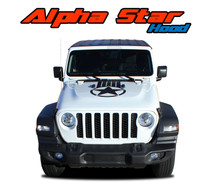 ALPHA HOOD : 2020 Jeep Gladiator Hood Star and Stripes Vinyl Graphics Decals Stripe Kit (VGP-7008)