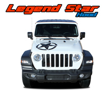 LEGEND HOOD : 2020 2021 Jeep Gladiator Hood Star and Stripes Vinyl Graphics Decals Stripe Kit (VGP-7011)