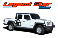 LEGEND STAR SIDES : 2020 2021 Jeep Gladiator Side Body Star Vinyl Graphics Decal Stripe Kit (VGP-7012)