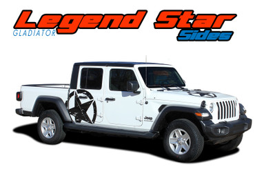 LEGEND STAR SIDES : 2020 2021 Jeep Gladiator Side Body Star Vinyl Graphics Decal Stripe Kit (VGP-7012)
