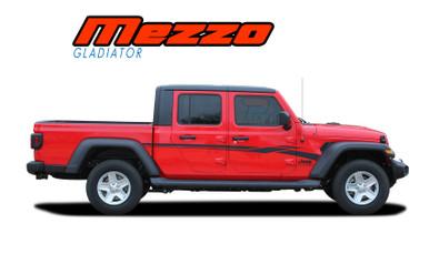 MEZZO : 2020 2021 Jeep Gladiator Side Body Door Vinyl Graphics Decal Stripe Kit (VGP-7010)