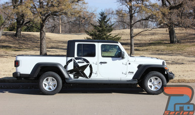 Side Door View of White Gladiator Featuring LEGEND SIDE KIT : 2020-2021 Jeep Gladiator Side Decals Package