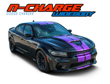 N-CHARGE RALLY WIDEBODY : 2015-2021 Dodge Charger R/T Scat Pack SRT 392 Hellcat Racing Stripe Rally Vinyl Graphics Decals Kit (VGP-7299)