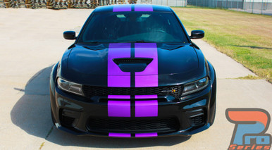 N-CHARGE RALLY WIDEBODY : 2015-2021 Dodge Charger R/T Scat Pack SRT 392 Hellcat Racing Stripe Rally Vinyl Graphics Decals Kits