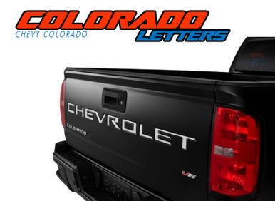COLORADO TAILGATE LETTERS : 2021 Chevy Colorado Rear Tailgate Letter Decals Vinyl Graphics