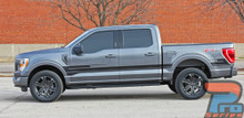 Side View of Gray 2021 Ford F150 Truck Side Graphic Stripe Package SWAY XL SIDE KIT