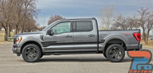 Side view of gray 2021 Ford F150 Stripe Graphics Package SWAY SIDE KIT 2021 2022