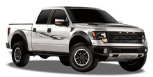 SAVAGE : Automotive Vinyl Graphics - Universal Fit Decal Stripes Kit - Pictured with FORD RAPTOR SERIES (ILL-907908)