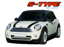 S-TYPE HOOD : 2010 2011 2012 2013 2014 2015 2016 Mini Cooper Hood Stripes Vinyl Graphics Kit (VGP-1723)