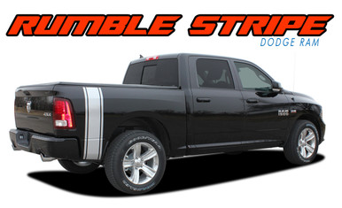 RUMBLE : 2009 2010 2011 2012 2013 2014 2015 2016 2017 2018 Dodge Ram Rear Truck Bed Stripes Vinyl Graphics Decals Kit (VGP-2123)