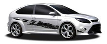 OUTCAST : Automotive Vinyl Graphics - Universal Fit Decal Stripes Kit - Pictured with MIDSIZE CAR (ILL-3603)