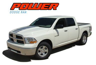 POWER : 2009 2010 2011 2012 2013 2014 2015 2016 2017 2018 Dodge Ram Strobe Hood Truck Bed Stripe Decal Vinyl Graphics Kit (VGP-1519)