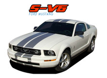 "S-V6 : 2005 2006 2007 2008 2009 Ford Mustang V6 Lemans GT500 Style 10"" Wide Vinyl Racing Stripe Rally Kit (VGP-1376.79)"