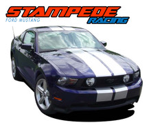 "STAMPEDE : 2010 2011 2012 Ford Mustang OEM Style 10"" Inch Wide Lemans Racing Stripes Rally Vinyl Graphics Kit (VGP-1491)"