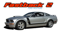 FASTBACK 2 : 2005 2006 2007 2008 2009 Ford Mustang BOSS Style Hood Side Door Vinyl Graphics Racing Stripe Kit (VGP-1459.1460)