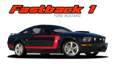 FASTBACK 1 : 2005 2006 2007 2008 2009 Ford Mustang Boss Style Side Door Vinyl Graphics Rally Decal Striping Kit (VGP-1458)