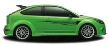 FUEL : Automotive Vinyl Graphics - Universal Fit Decal Stripes Kit - Pictured with TWO DOOR HATCHBACK