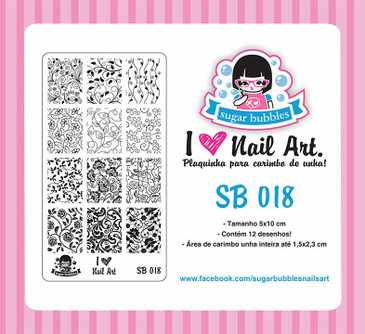 Sugar Bubbles SB018 nail stamping plate, available in the USA at www.lanternandwren.com.