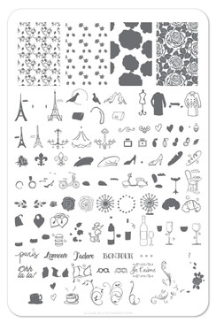 A Taste of France nail stamping plate by Clear Jelly Stamper. Available in the USA at www.lanternandwren.com