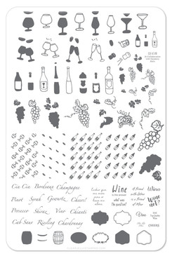 Friend With Wine nail stamping plate by Clear Jelly Stamper. Available in the USA at www.lanternandwren.com