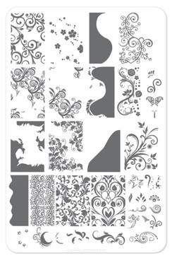 Sweet Swirls nail stamping plate by Clear Jelly Stamper. Available in the USA at www.lanternandwren.com.