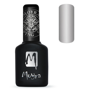Easily apply nail foil to your stamping using Silver Moyra Foil Stamping Polish. Available at Lantern & Wren.