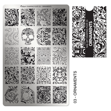 Ornaments, Moyra Mini Stamping Plate 03. Available at www.lanternandwren.com.