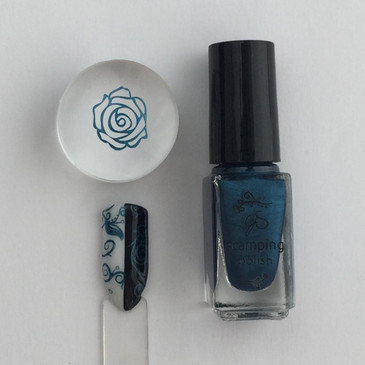 Clear Jelly Stamper nail stamping polish, #36 Midnight Rendezvous. Available at www.lanternandwren.com.