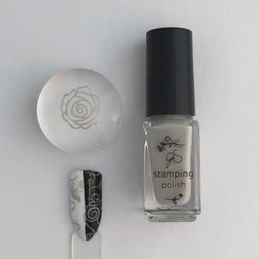 Clear Jelly Stamper stamping polish #15 Stone Cold, available at www.lanternandwren.com.