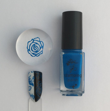 Clear Jelly Stamper stamping polish #10 - Gotta Be Blue, available at www.lanternandwren.com.