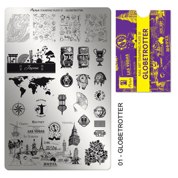 Globetrotter, Moyra Stamping Plate 02. Available at www.lanternandwren.com.