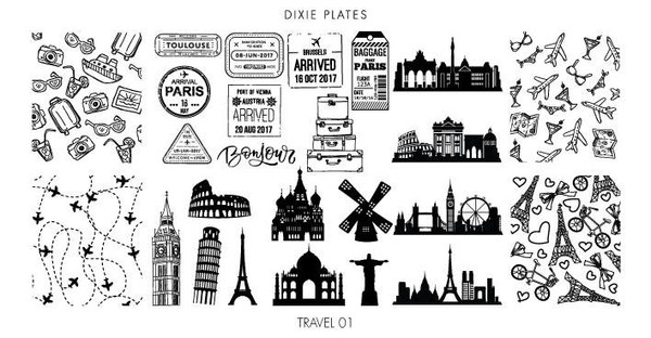 Dixie Plates Travel 01 mini stamping plate. Available in the USA at www.lanternandwren.com.