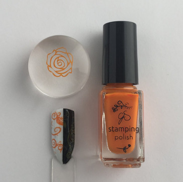 Clear Jelly Stamper stamping polish #22, Clementine, available at www.lanternandwren.com.